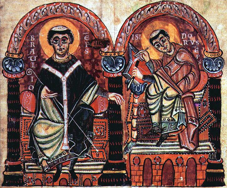 Braulio de Zaragoza e Isidoro de Sevilla (miniatura otoniana de siglo X). Origen: Wikipedia