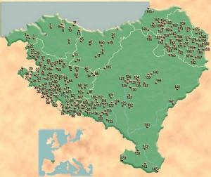 Ubicación de los lugares de habitación en el territorio de Euskal Herria durante el Bronce Final y la Edad del Hierro. Xabi Otero