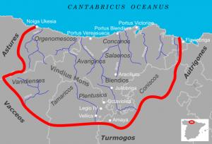 Mapa de la Cantabria Antigua