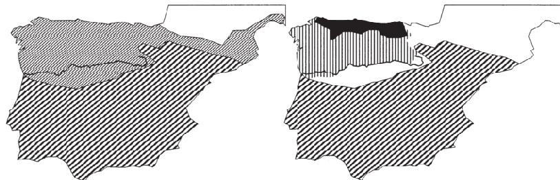 La evolución del noroeste ibérico desde la octava de mediados a finales del siglo IX; al final del control Árabe de la meseta del Duero (izquierda) y expansión del territorio asturiano bajo Ordoño I y Alfonso III (derecha).