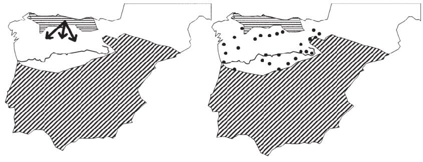Los ataques de Alfonso I contra las llanuras, según la Albendense (izquierda) y la crónica de Alfonso III (derecha).