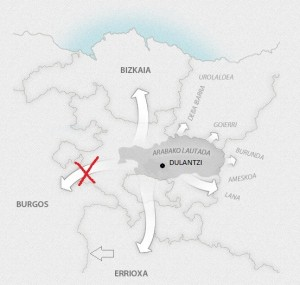 Mapa revisado de la expansión del euskera occidental (basado en Zuazo 2014)
