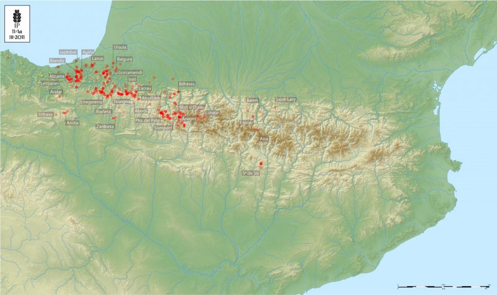 Cromlech pirenaicos. Mapa de ImagoPyrenai a partir del material cartográfico de Eric Gaba