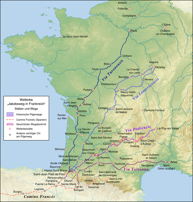 Map of the world heritage sites of the Way of St. James in France. German localization.